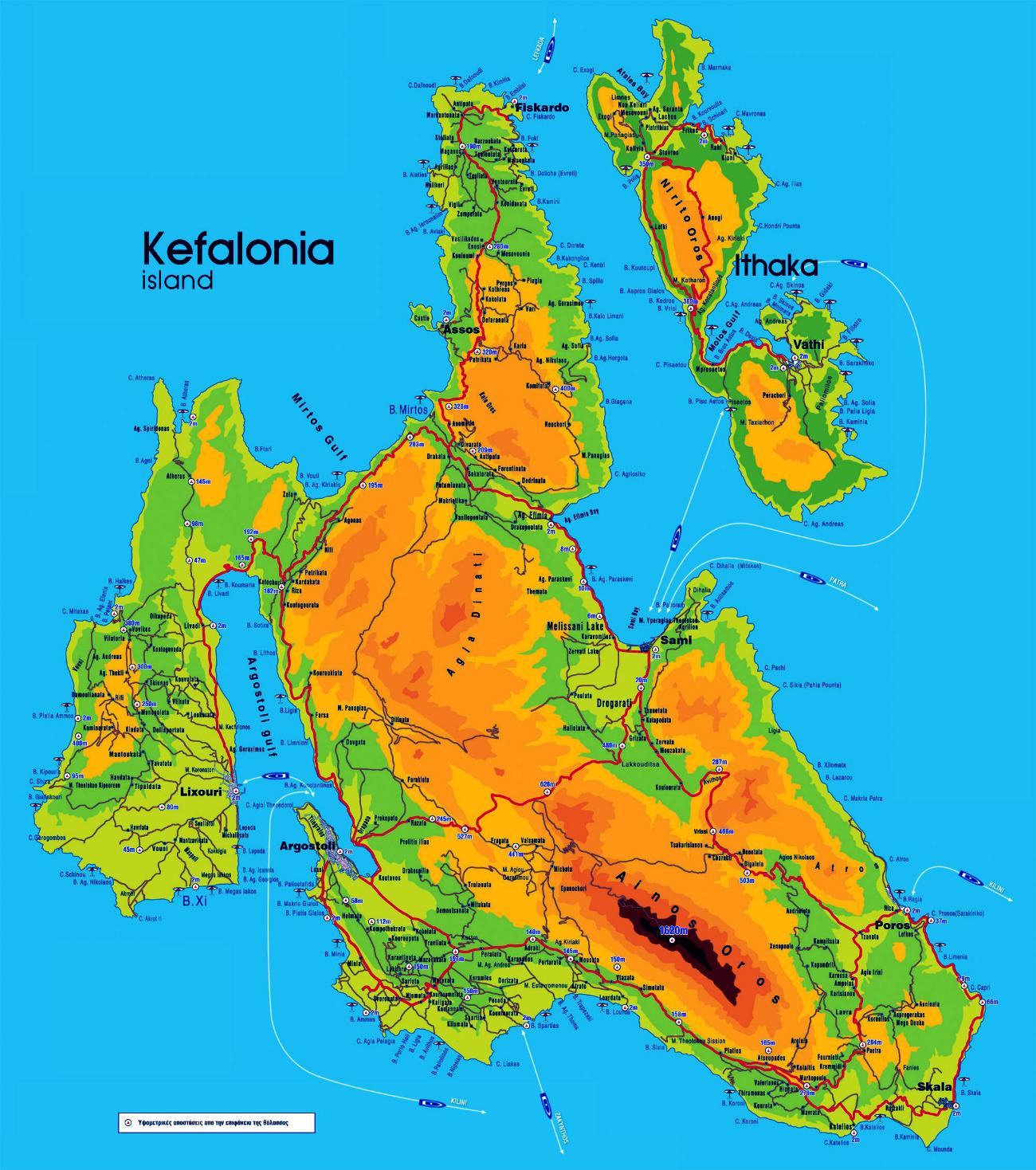 Detailed map of Kefalonia, yacht, sailing Kefalonia